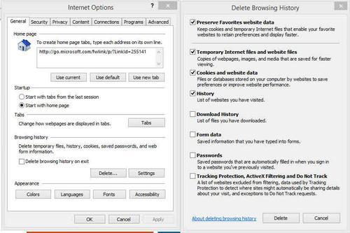 Internet Explorer 11 xóa các tập tin cookie