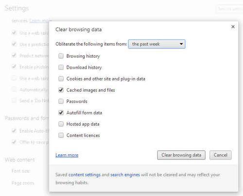 Google Chrome xóa cookie