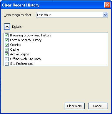 Làm thế nào để xóa các tập tin cookie và lịch sử duyệt web: Firefox