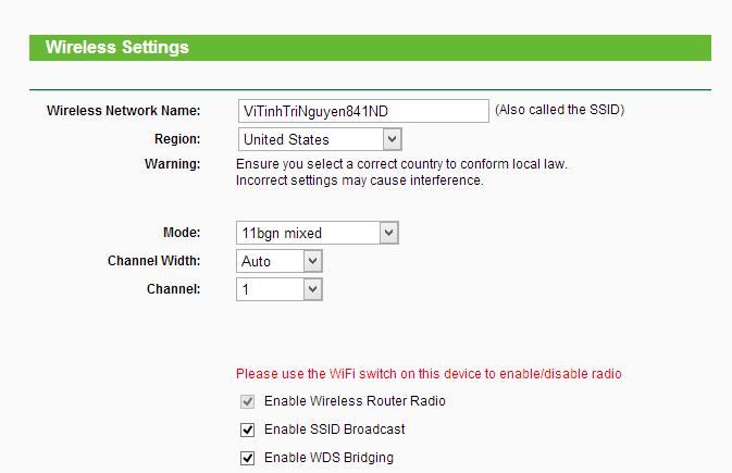 Hướng dẫn cấu hình router TP-Link TL-WR841ND repeat sóng WiFi từ TL-WR720N 6