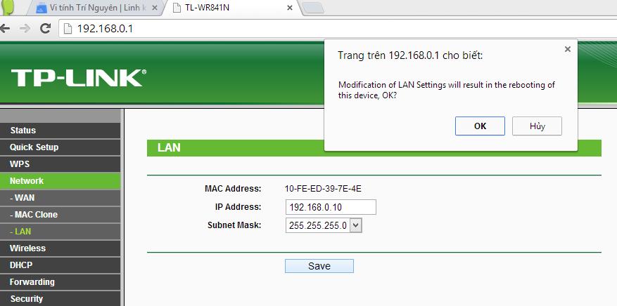 Hướng dẫn cấu hình router TP-Link TL-WR841ND repeat sóng WiFi từ TL-WR720N 9