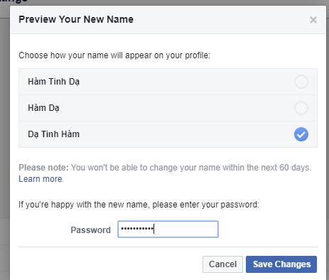 cách đổi tên facebook trên máy tính 60 ngày