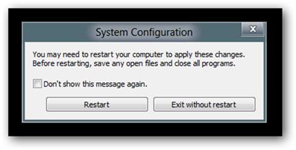 system configuration-restart