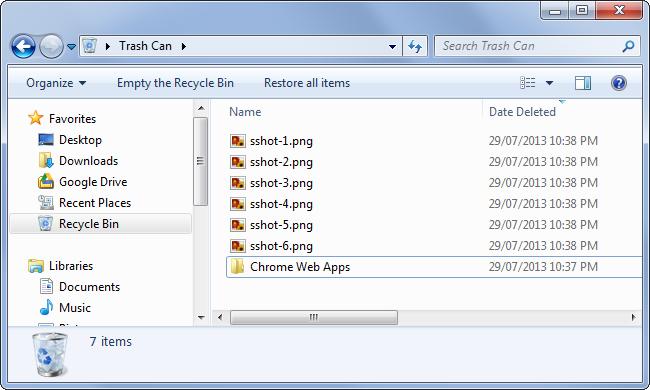 khôi phục các file từ Recycle Bin