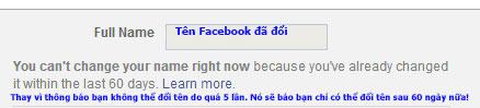 đổi tên facebook thành công