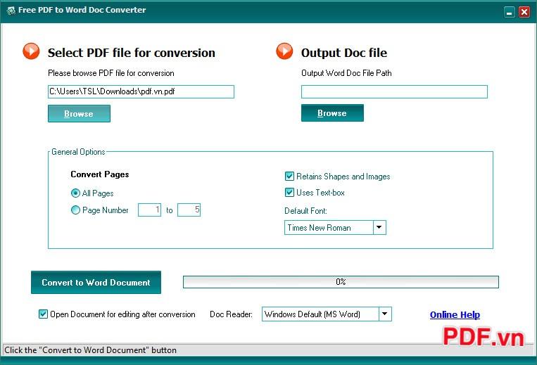 Giao diện chính Free PDF to Word Doc Converter