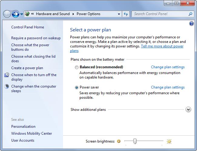 Bảng điều khiển năng lượng pin Power Options