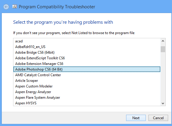 chọn chương trình cần sửa lỗi has stopped working