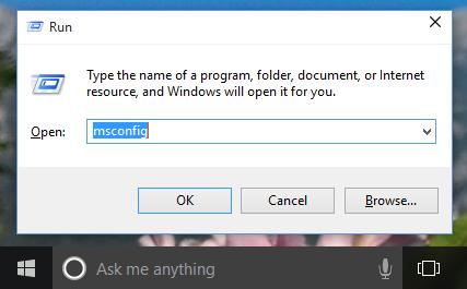 mở msconfig