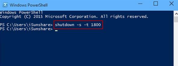 tắt máy tính tự động trong win 10 bằng Windows PowerShell
