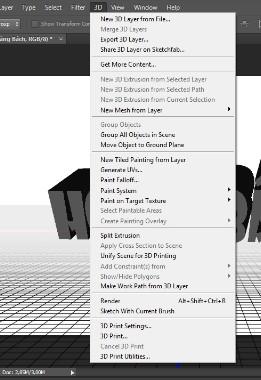 hien tinh nang 3d trong thanh menu cua photoshop
