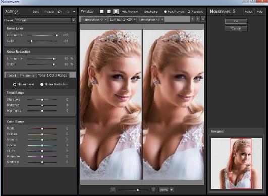 Giao dien plugin Noiseware 5.0.2 trong photoshop