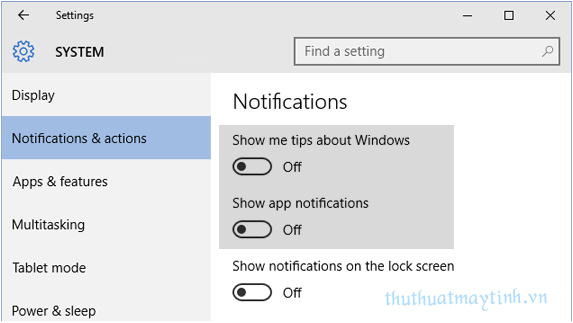 Huy Notifications và Action Center trong Windows 10