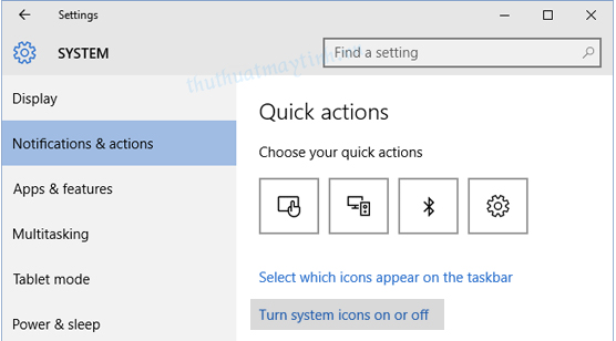 Tat Action Center Notifications trong windows 10