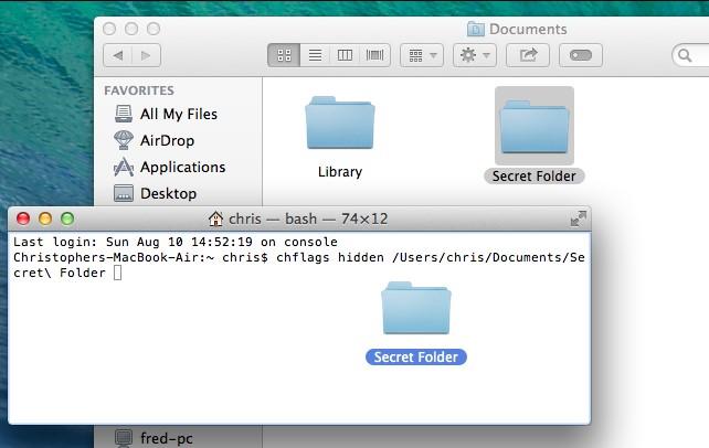 Cách ẩn file và folder trên Mac OSX