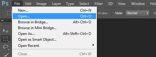 Hướng dẫn Mở (Open) file ảnh trong Photoshop