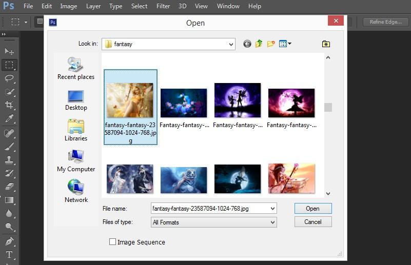 Hướng dẫn mở file hinh ảnh trong Photoshop