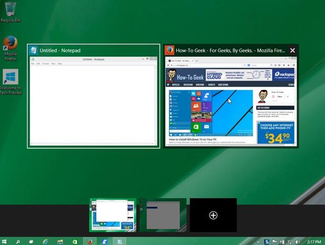 Alt + tab chọn cưa sổ Desktops ảo trong Windows 10