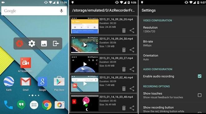 Quay video màn hình Android không cần root