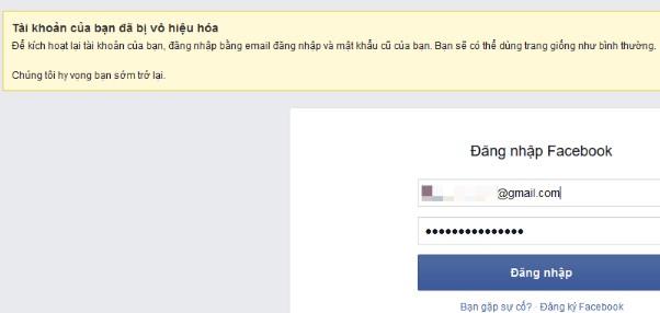 Thông báo tài khoản Facebook đã bị vô hiệu hóa tạm thời