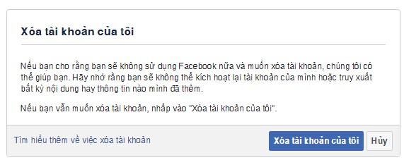 Cách khoastaif khoản Facebook vĩnh viễn