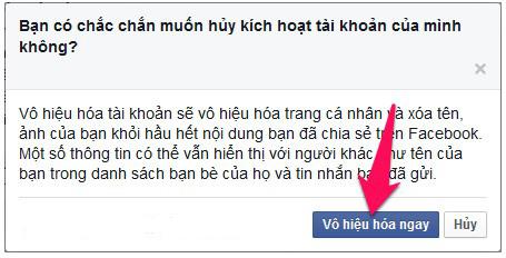 Chọn vô hiệu hóa ngay để khóa tài tài khoản Facebook