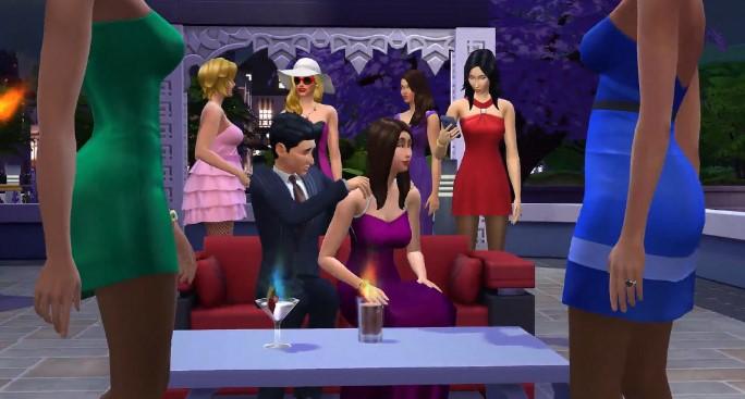 Bữa ăn với bạn bè trong trò chơi The Sims