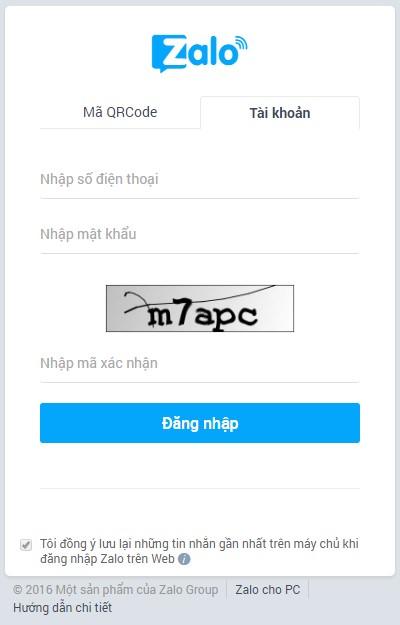 Đăng nhập Zalo bằng trình duyệt web trên máy tính