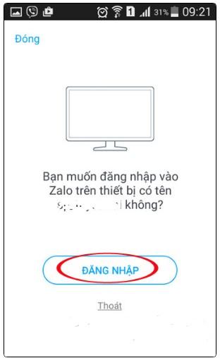 Thông báo cho phép đăng nhập Zalo trên máy tính