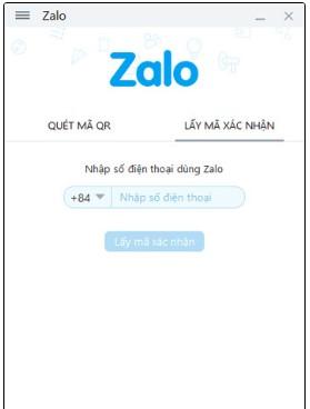 Nhập số điện thoại lấy mã xác nhận Zalo đăng nhập máy tính