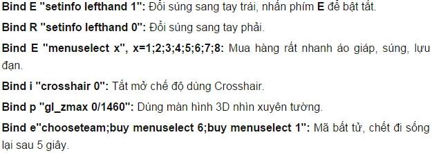 Lệnh mua hàng nhanh trong gme CS