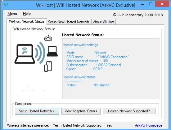 Phát wifi trên windows 8 bằng phần mềm Wi-host