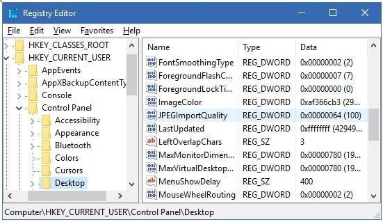 Vô hiệu hoá tự động nén các hình nền JPEG trong Windows 10