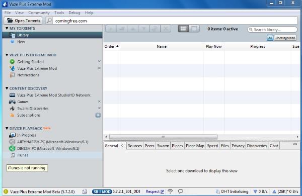 Giao diện Vuze 5.7.4.0