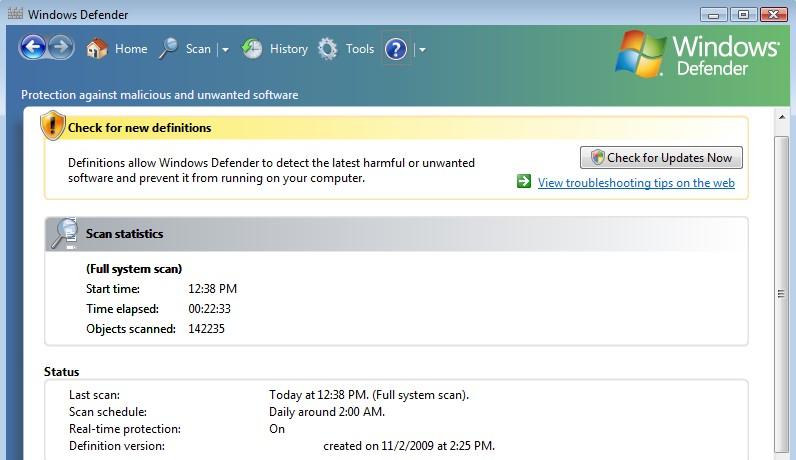 Sử dụng Windows Defender