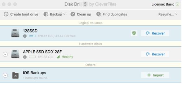 Giao dien Disk Drill 3.0.756 cho Mac OS X