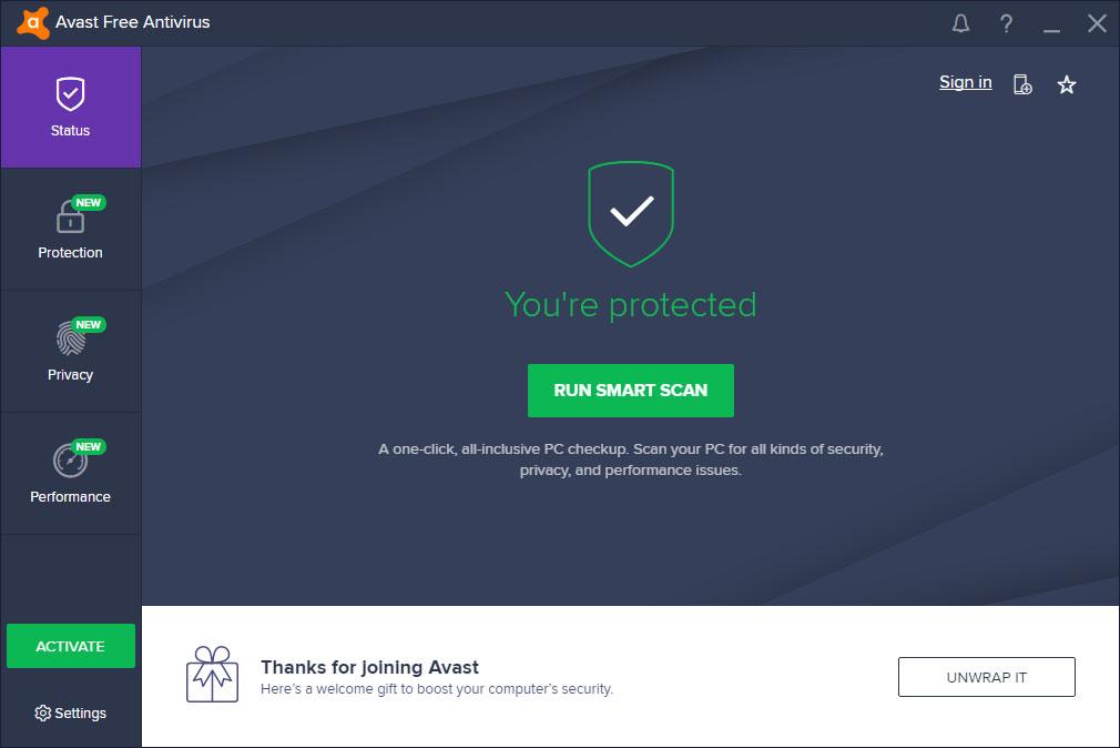 Hoàn thanh cài đặt Avast Free Antivirus 2018 và sẵn sàng để sử dụng