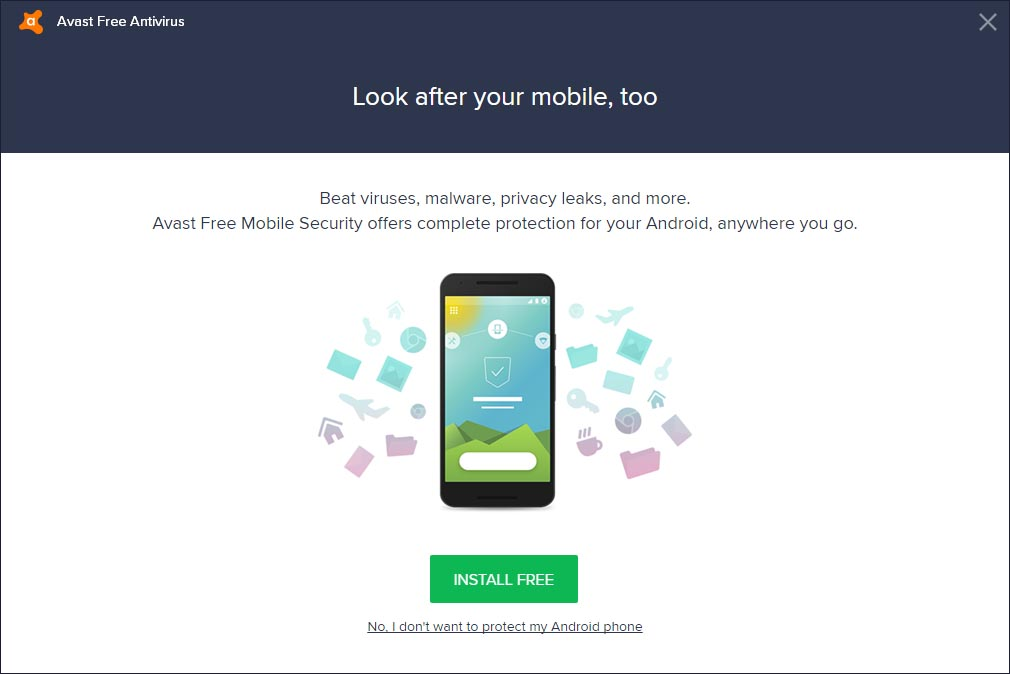 Avast Free Antivirus 2018 Cài đặt bài - bổ sung Sản phẩm Avast (Avast Free Mobile Security)