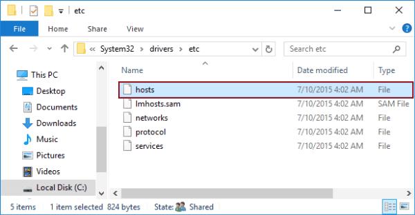 mở file hosts