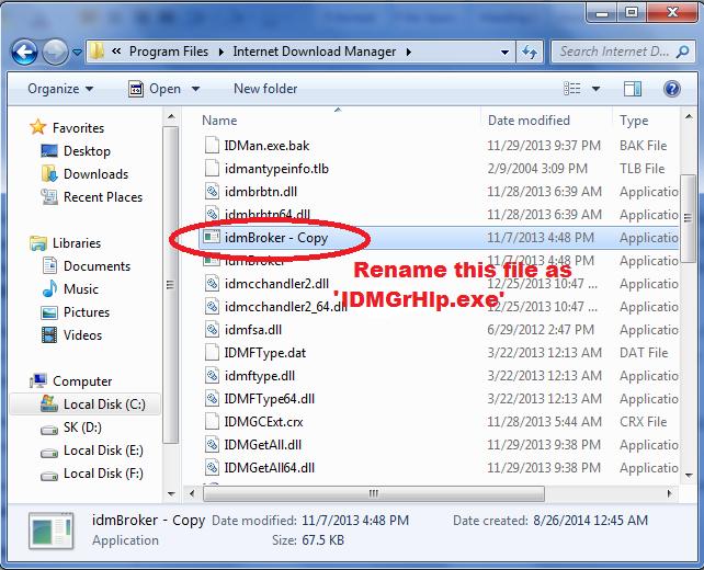 đổi tên idmBroker.exe file to IDMGrHlp.exe nằm trong internet download manager