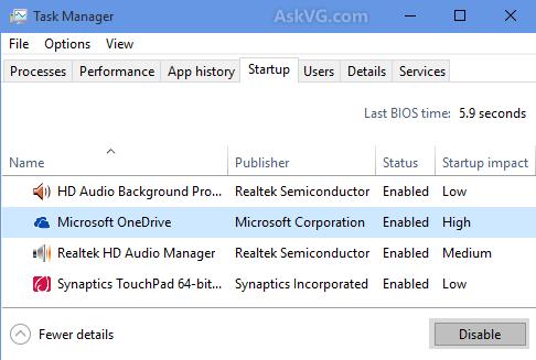 Tắt onedrive trong Windows 10