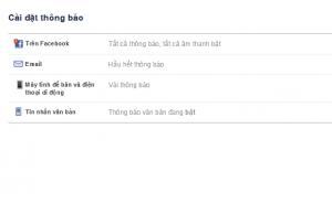 Cài đặt thông báo facebook trong Email
