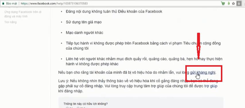 Gửi yêu cầu kháng nghị đến Facebook