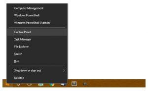 Khôi phục Control Panel Windows 10 biến mất khỏi trình đơn của WinX