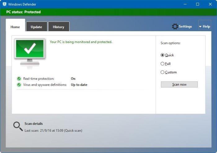 Tắt Windows Defender Trong Windows 10