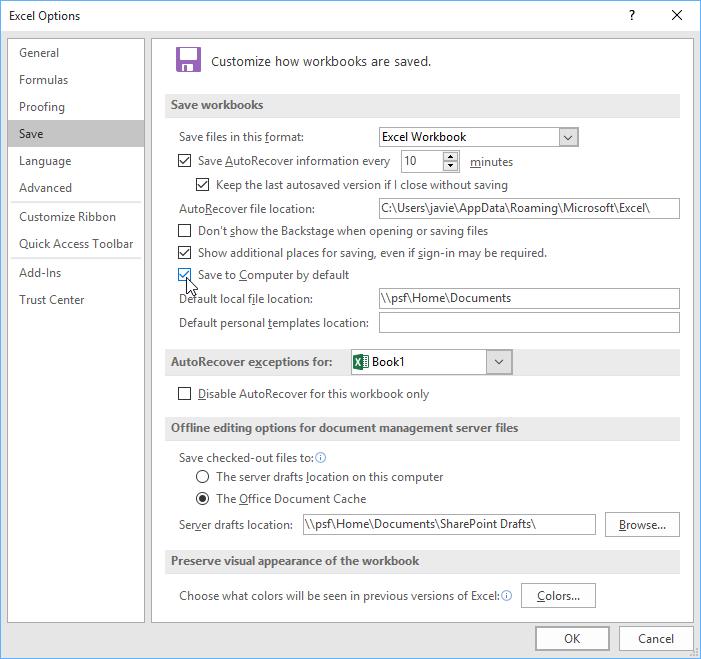 Thay đổi vị trí lưu file Excel mặc định