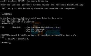 Khắc phục không thấy system32 \ drivers \ pci.sys