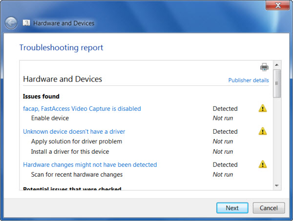 Khắc phục sự cố Phần cứng và Thiết bị của Windows với Troubleshooter