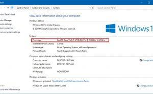 Kiểm tra thông tin bộ vi xử lý Intel trên Windows 10