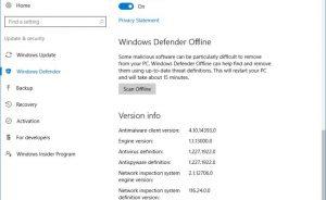 Sử dụng Windows Defender để quét ngoại tuyến để xóa các vi rút